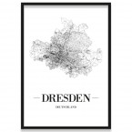 Poster Dresden Straßennetz mit Rahmen