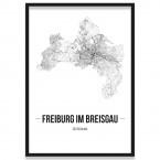 Poster Freiburg im Breisgau Straßennetz