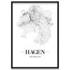 Poster Hagen Straßenplan mit Rahmen