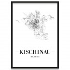 Stadtposter Kischinau Straßennetz mit Bilderrahmen