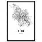 Poster Köln mit Straßennetz Rahmen