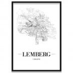 Poster Lemberg mit Bilderrahmen