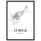 Poster Lübeck mit Rahmen