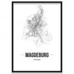 Poster Magdeburg mit Straßennetz im Bilderrahmen