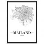 Poster Mailand Straßenplan mit Bilderrahmen