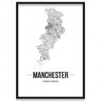 Poster Manchester gerahmt mit Straßennetz