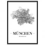 Stadtposter München mit Bilderrahmen