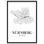 Stadtposter Nürnberg Stadtplan mit Rahmen