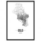 Stadtposter Oslo Straßennetz Bilderrahmen