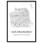 Stadtposter San Francisco mit Bilderrahmen