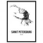 Stadtposter Sankt Petersburg mit Bilderrahmen