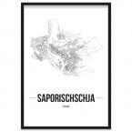 Stadtposter Saporischschja mit Bilderrahmen
