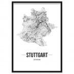 Stadtposter Stuttgart mit Bilderrahmen