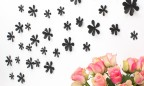 Wandtattoo 3D - Blumen schwarz