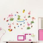 Wandsticker Set A4 - Flamingo