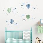Wandsticker Set A4 - Heißluftballons Blau