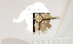 Wandtattoo Uhr - lustiger Elefant