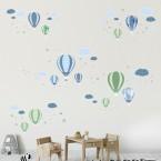 Wandsticker Mega Set - Heißluftballons Blau