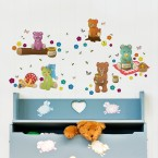 Wandsticker Set A4 - Teddybären Picknick