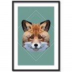 Poster Fuchs Lowpoly, Rahmen