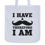 JUNIWORDS Pastelljutebeutel I have a moustache therefore I am