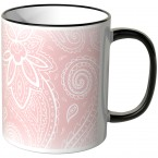 JUNIWORDS Tasse Schnörkel Rose-Weiß