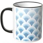 JUNIWORDS Tasse Fischschuppenmuster Blautöne