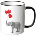 JUNIWORDS Tasse Elefant mit Herzchenluftballons