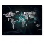 Leinwandbild - Typografie - Schwarz - Grau - World map Universe