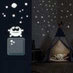 Leuchtaufkleber Sterne Abgerundet + Lichtschalter - Alien Set