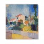 das helle Haus von August Macke auf Leinwand