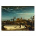 Leinwandbild Rembrandt Winterlandschaft