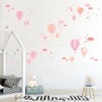 Wandsticker Mega Set - Heißluftballons Rosa