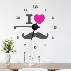 Wandtattoo Uhr - I LOVE MUSTACHE