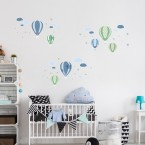 Wandsticker Set XL - Heißluftballons Blau