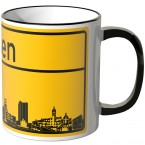 JUNIWORDS Tasse Ortsschild Skyline Essen
