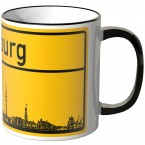 JUNIWORDS Tasse Ortsschild Skyline Hamburg