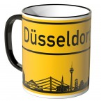 JUNIWORDS Tasse Ortsschild Skyline Düsseldorf