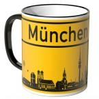 JUNIWORDS Tasse Ortsschild Skyline München