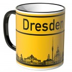 JUNIWORDS Tasse Ortsschild Skyline Dresden