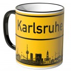 JUNIWORDS Tasse Ortsschild Skyline Kalsruhe