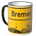 JUNIWORDS Tasse Ortsschild Skyline Bremen