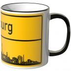 JUNIWORDS Tasse Ortsschild Skyline Duisburg