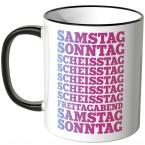 JUNIWORDS Tasse Samstag, Sonntag, Scheisstag,...