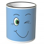 JUNIWORDS Tasse lustiges Gesicht - blau