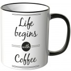 JUNIWORDS Tasse Life begins with coffee