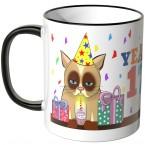 JUNIWORDS Tasse YEAH 17! mit mürrischer Katze