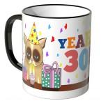 JUNIWORDS Tasse YEAH 30! mit mürrischer Katze