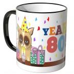 JUNIWORDS Tasse YEAH 70! mit mürrischer Katze