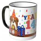 JUNIWORDS Tasse YEAH 14! mit mürrischer Hund